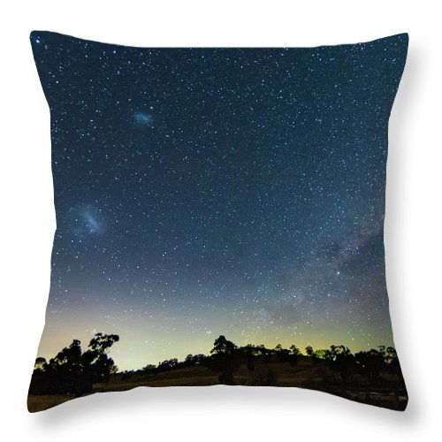Astro Throw Pillow featuring the photograph Milky Way And Countryside by Merrillie Redden