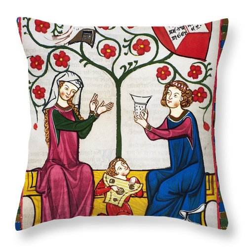 14th Century Throw Pillow featuring the photograph Minnesinger Lieder by Granger