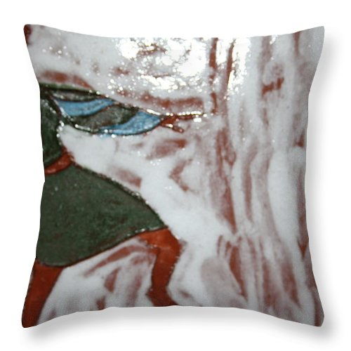 Jesus Throw Pillow featuring the ceramic art Mirabel - Tile by Gloria Ssali