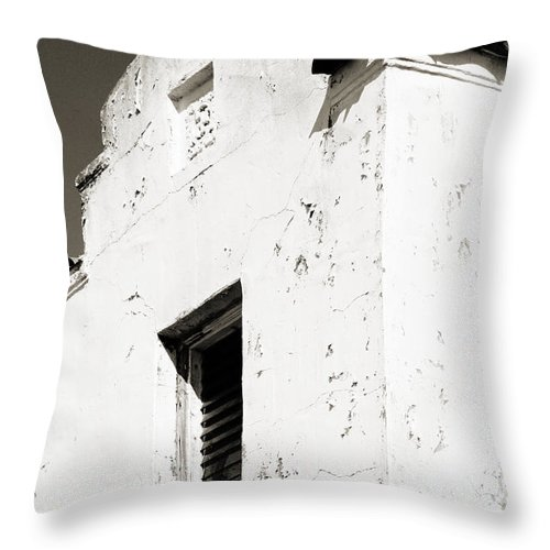 Mission Throw Pillow featuring the photograph Mission Stucco Building by Marilyn Hunt