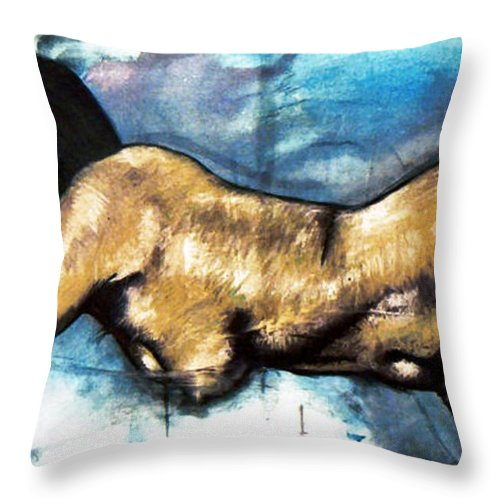 Nude Throw Pillow featuring the painting Missy by Thomas Valentine