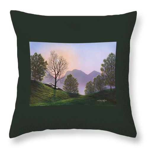 Landscape Throw Pillow featuring the painting Misty Spring Meadow by Frank Wilson