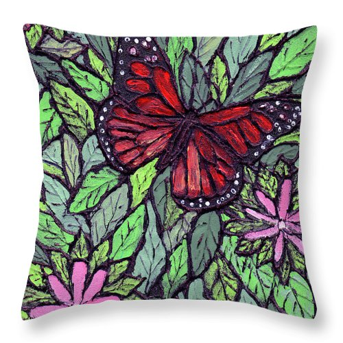 Monarch Throw Pillow featuring the painting Monarch Butterfly by Wayne Potrafka