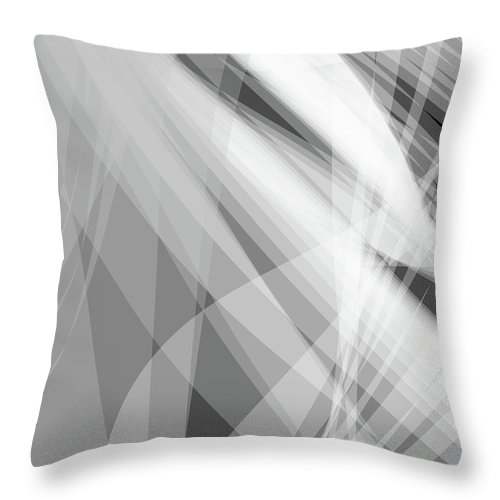 Wave Throw Pillow featuring the digital art Monochrome White Abstract Vector Background, Gray Transparent Wa by Svetlana Corghencea