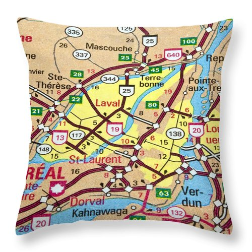 Montreal Throw Pillow featuring the photograph Montreal Map. Quebec. by Fernando Barozza