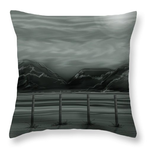 Landscape Throw Pillow featuring the painting Moon Over the Beartooth by Anne Norskog