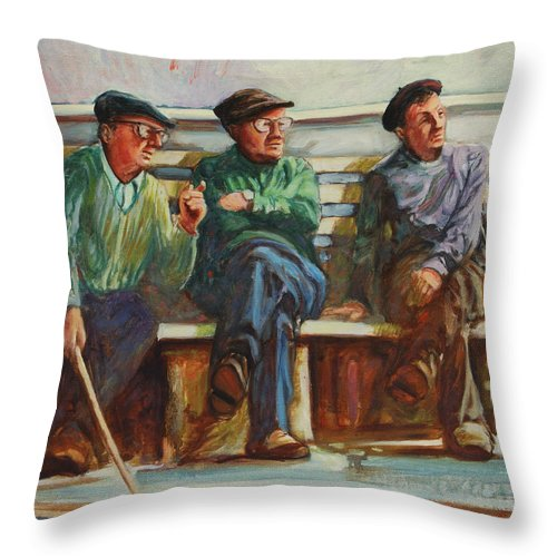 Cafe Throw Pillow featuring the painting Morning Chat by Rick Nederlof