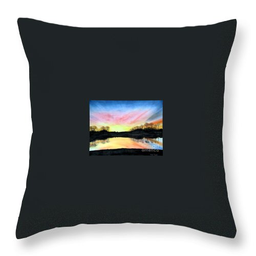 Peaceful Throw Pillow featuring the painting Morning Glory by Mary Tuomi
