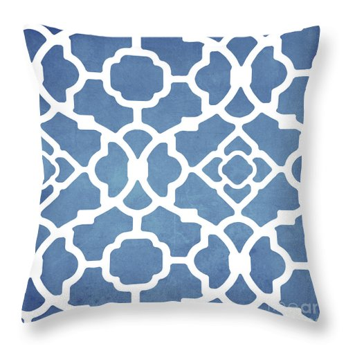 Blue Pattern Throw Pillow featuring the painting Moroccan Blues by Mindy Sommers