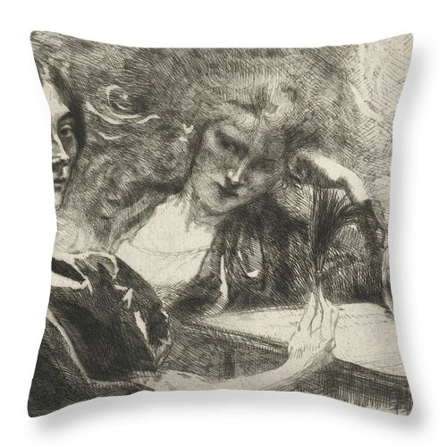 Throw Pillow featuring the drawing Morphine Addicts (morphinomanes) by Albert Besnard