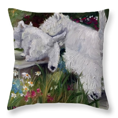 Westie Throw Pillow featuring the painting Mother's Day by Mary Sparrow