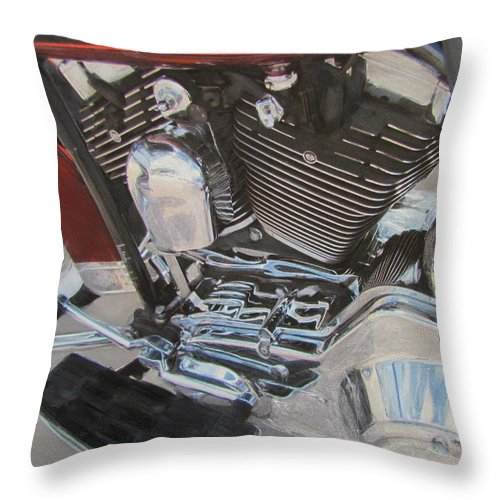 Throw Pillow featuring the mixed media Motorcycle Close Up 1 by Anita Burgermeister
