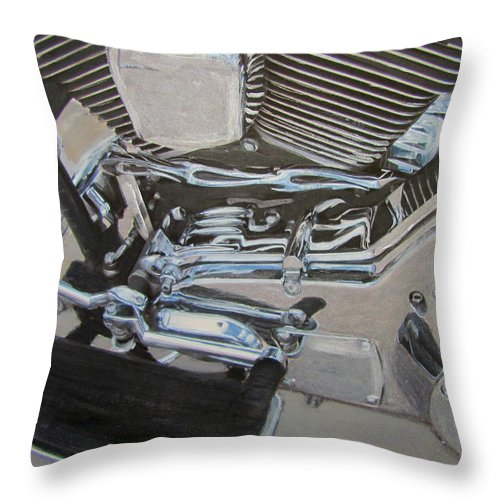 Motorcycle Throw Pillow featuring the mixed media Motorcycle Close Up 2 by Anita Burgermeister