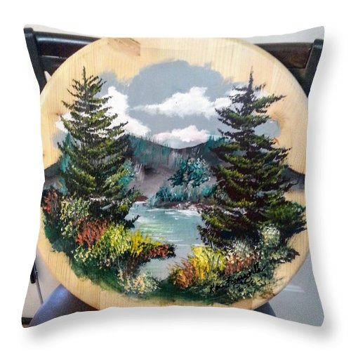 Kandscape Throw Pillow featuring the painting Mountain Lake by Ken Farnsworth