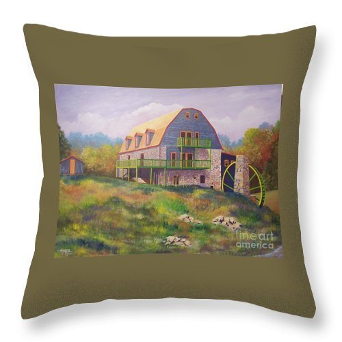 Mill Throw Pillow featuring the painting Mountain Mill by Hugh Harris