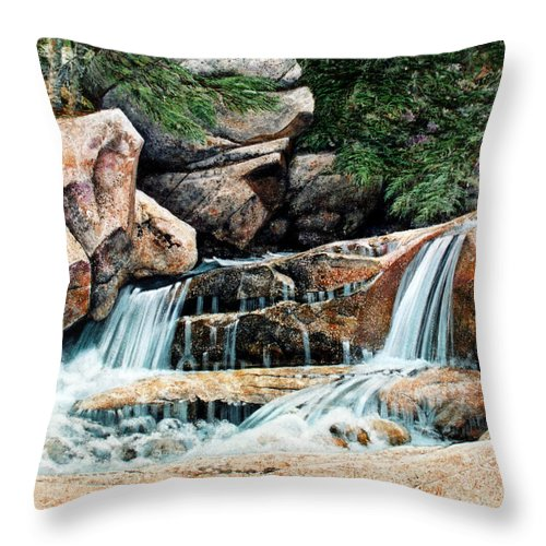 Landscape Throw Pillow featuring the painting Mountain Stream by Frank Wilson