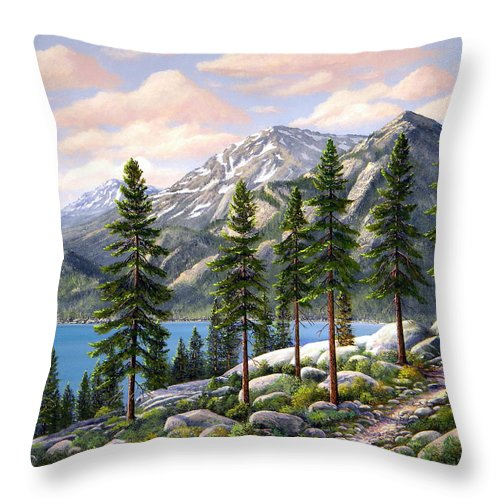 Landscape Throw Pillow featuring the painting Mountain Trail by Frank Wilson