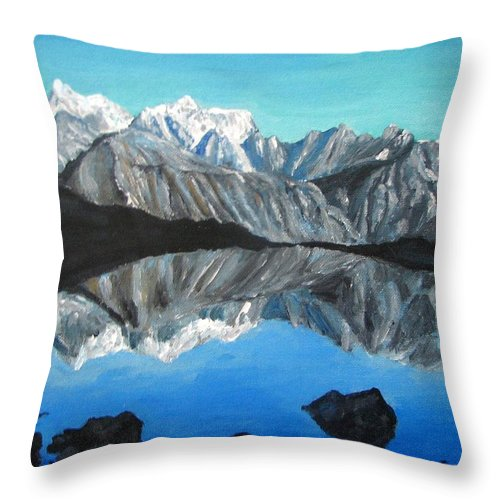 Smoky Mountains Throw Pillow featuring the painting Mountains Landscape Acrylic Painting by Natalja Picugina
