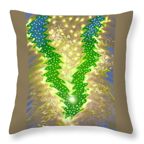 Moveonart! Digital Gallery Throw Pillow featuring the digital art MoveOnArt Christmas 2009 Collection Victory Tree by Jacob Kanduch