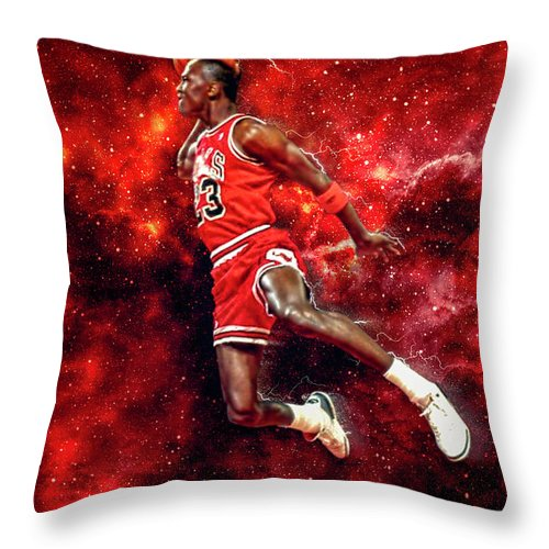 Mr. Michael Jeffrey Jordan Throw Pillow featuring the digital art Mr. Michael Jeffrey Jordan aka Air Jordan MJ by Nicholas Grunas