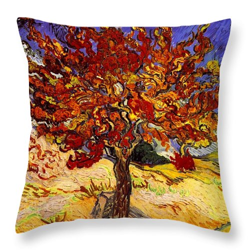Vincent Van Gogh Throw Pillow featuring the painting Mulberry Tree by Van Gogh