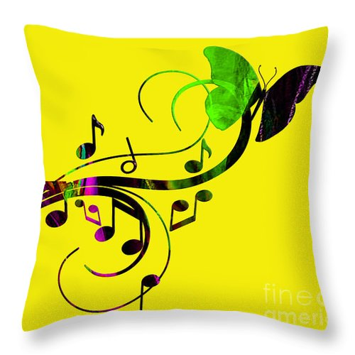 Music Throw Pillow featuring the mixed media Music Flows Collection by Marvin Blaine