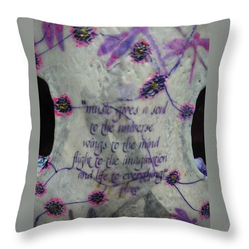 Violin Throw Pillow featuring the painting Music Is Transformation by Heather Hennick