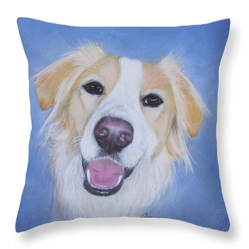 Dog Throw Pillow featuring the painting My Blonde Border Collie by Janice M Booth