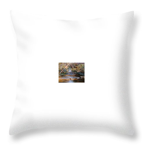 River; Waterfalls Throw Pillow featuring the painting My Secret Place by Ben Kiger