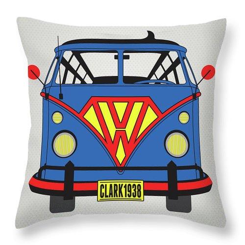 Superheroes Throw Pillow featuring the digital art My Superhero-vw-t1-superman 1 by Chungkong Art