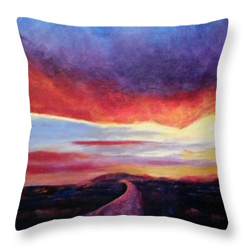 Landscape Throw Pillow featuring the painting Narrow Road To Life by Patty Mowatt