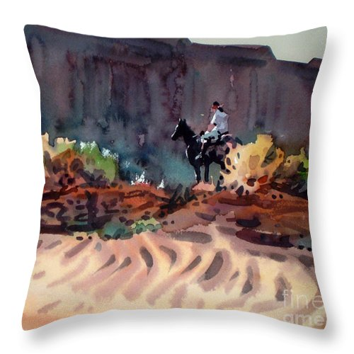 Equestrian Throw Pillow featuring the painting Navajo Rider by Donald Maier