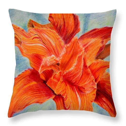 Floral Throw Pillow featuring the drawing Nella Fantisia by Thomas J Nixon