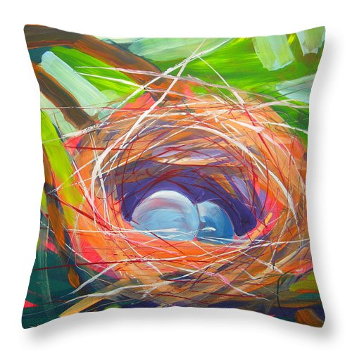 Eggs Throw Pillow featuring the painting Nest Of Prosperity 6 by Pam Van Londen