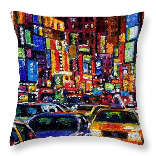 New York City Throw Pillow featuring the painting New York City by Debra Hurd