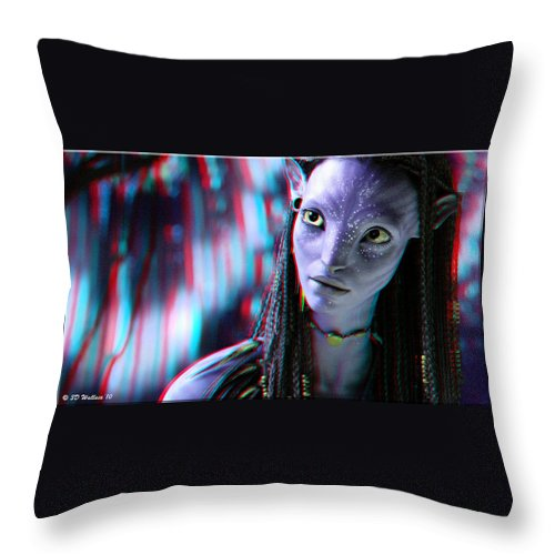 3d Throw Pillow featuring the photograph Neytiri - Use Red And Cyan 3d Glasses by Brian Wallace
