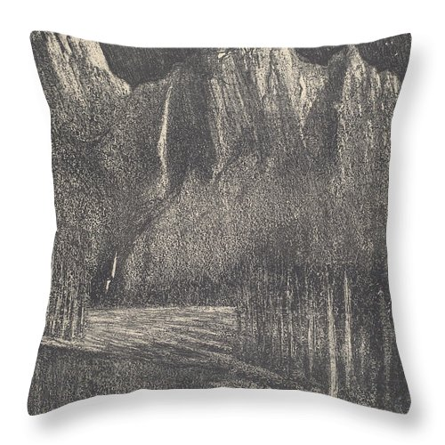 Throw Pillow featuring the drawing Night In The Yosemite by Joseph Pennell
