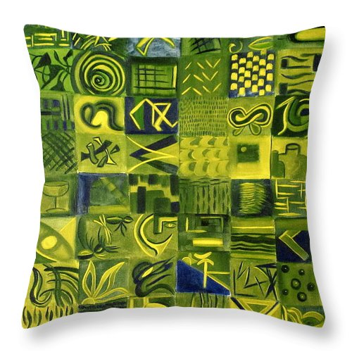 Green Throw Pillow featuring the painting Night On The Lawn by Patricia Cleasby