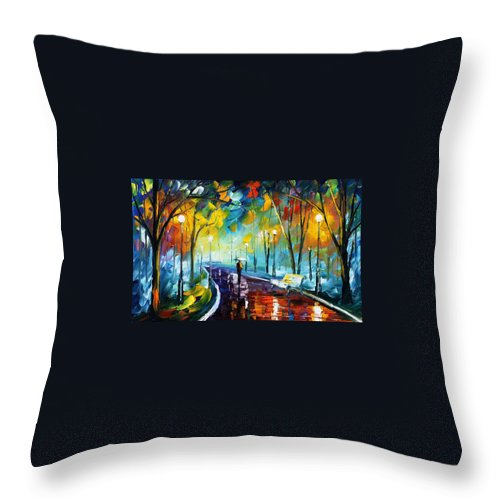 Afremov Throw Pillow featuring the painting Night Park by Leonid Afremov