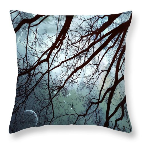 Night Sky Throw Pillow featuring the photograph Night Sky In The Woods by Marianna Mills