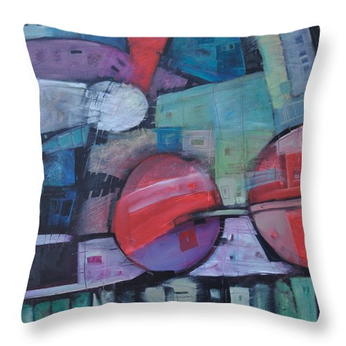 Train Throw Pillow featuring the painting Night Train by Tim Nyberg