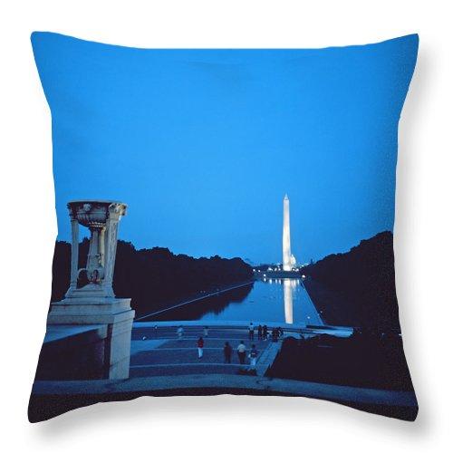 Night View Of The Washington Monument Across The National Mall (photo)washington Throw Pillow featuring the photograph Night View Of The Washington Monument Across The National Mall by American School