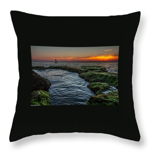 Sunset Landscape Sea Boat Throw Pillow featuring the pyrography Romantic Sunset by Bilal Zedan