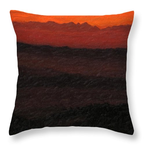 �not Quite Rothko� Collection By Serge Averbukh Throw Pillow featuring the photograph Not quite Rothko - Blood Red Skies by Serge Averbukh