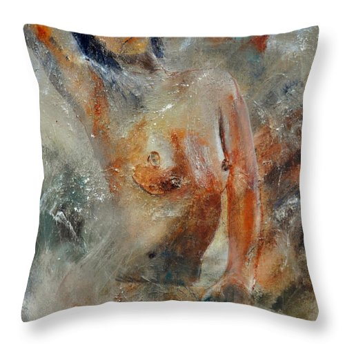 Nude Throw Pillow featuring the painting Nude 450101 by Pol Ledent