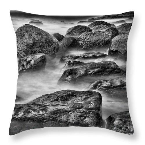 Rocks Throw Pillow featuring the photograph Ocean Break by Hugh Smith