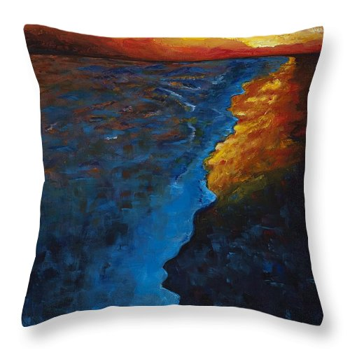 Abstract Ocean Throw Pillow featuring the painting Ocean Sunset by Frances Marino