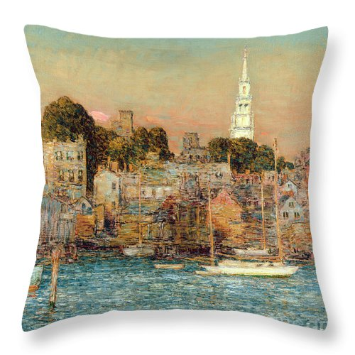 October Sundown Throw Pillow featuring the painting October Sundown by Childe Hassam