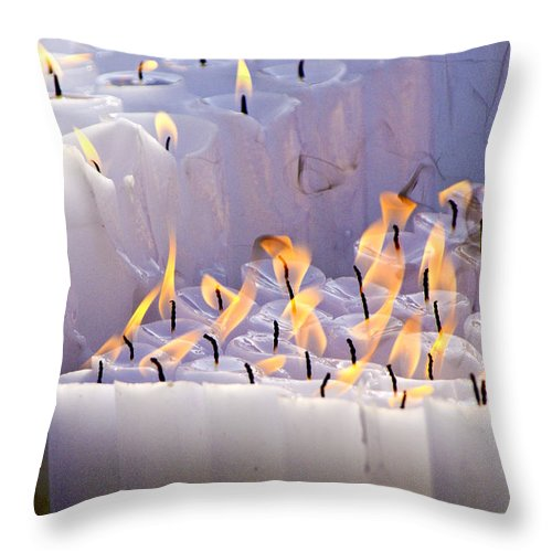 Candles Throw Pillow featuring the photograph Offering by Michele Burgess