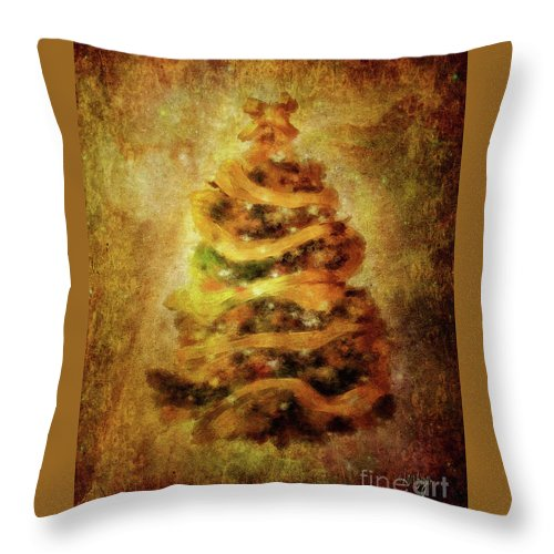 Christmas Throw Pillow featuring the digital art Oh Christmas Tree by Lois Bryan
